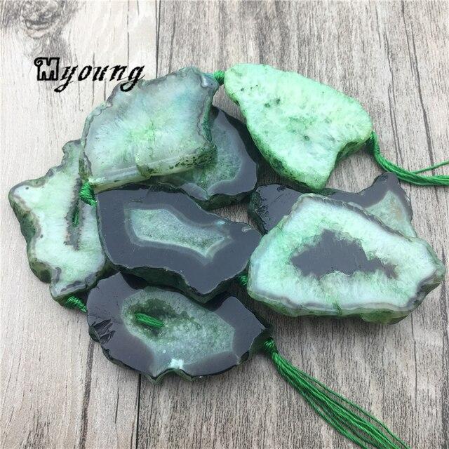 녹색 마노 석영 druzy geode 자유형 슬래브 너깃 구슬, 원시 보석 스톤 drusy 슬라이스 드릴 된 펜던트 beadsmy1558