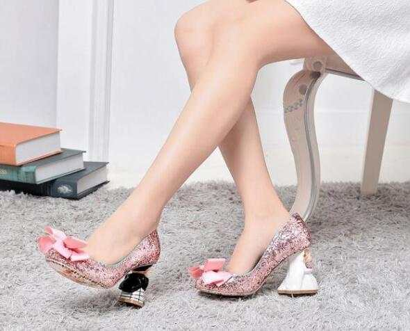 70959d4e49 US $100.0 |romantic 3D cartoon doll bride groom heel pumps pink sequins  leather shoes lovely big bowknot comfortable pumps wedding shoes-in Women's  ...