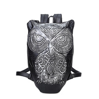 Women Backpack 2017 Cool Black PU Leather Cute 3D Owl Backpack Female Hot Sale Women Bag