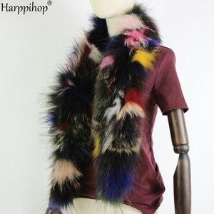 Image 3 - 2019 Phụ Nữ Mới Chính Hãng dệt kim Cáo Khoác Nỉ Thật Cổ Lông Mùa Đông Ấm Cổ Ấm bạc Fox màu hỗn hợp khăn 130 cm