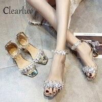 2019 New Rhinestone High Heels Cinderella Shoes Women Pumps Pointed toe Woman Crystal Wedding Shoes 7cm heel big size 34 39