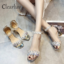 2019 New Rhinestone High Heels Cinderella Shoes Women Pumps Pointed toe Woman Crystal Wedding Shoes  7cm  heel big size 34-39 цены онлайн