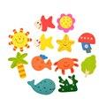 12 pcs 1 Conjunto Colorido Crianças Padrão Dos Desenhos Animados de Madeira Imã de geladeira De Madeira Do Bebê Brinquedo Educativo