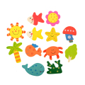 12pcs 1Set Colorful Kids Baby Wood Wooden Cartoon Pattern Fridge Magnet Educational Toy