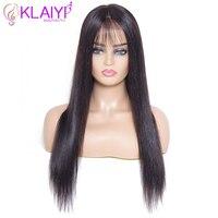 Klaiyi волосы прямые волосы remy парик 14 дюймов 28 дюймов спереди кружево Искусственные парики r #1 #2 #4 натуральный цвет Предварительно сорвал