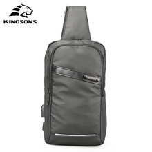 Kingsons Men Women Chest Anti-theft Bag USB Charging  Crossbody Single Shoulder Strap Back pack Business Travel Boys Casual Bags
