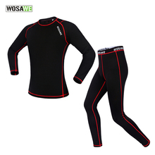 WOSAWE tops + pants compression Men's breathable Outdoor Sports Long Johns Fitness Underwear Fleece Cycling Base Layers