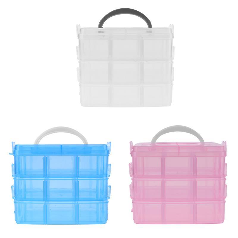 Makeup Tool Kits Portable Detachable Three-Layers Plaid Plas