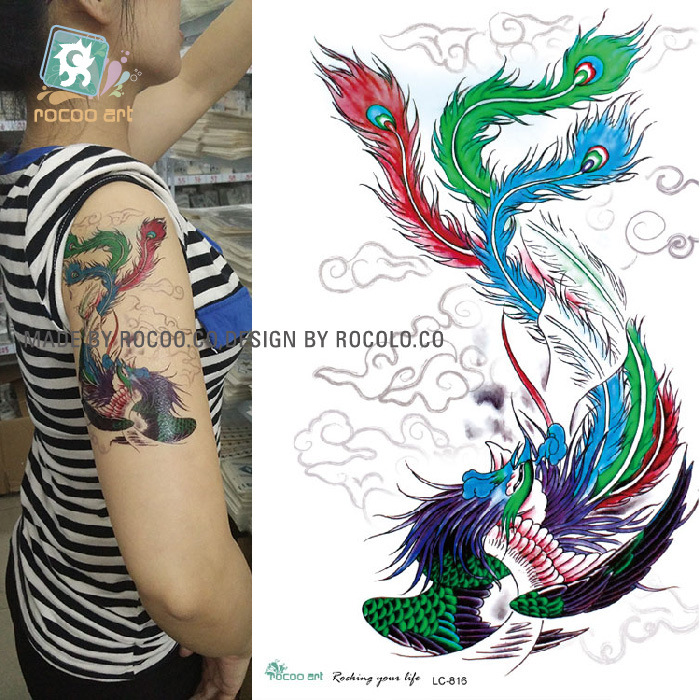 2017 promotion real men tattoo stickers color flower for Wholesale temporary tattoos