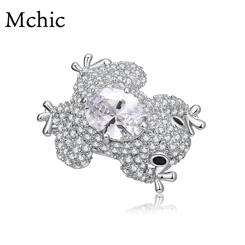 Mchic AAA Luxury Zirconia Exquisite Charm Frog Animal Small Brooches Pin Women Brooch Pin Jewelry Lapel Clothing Accessories