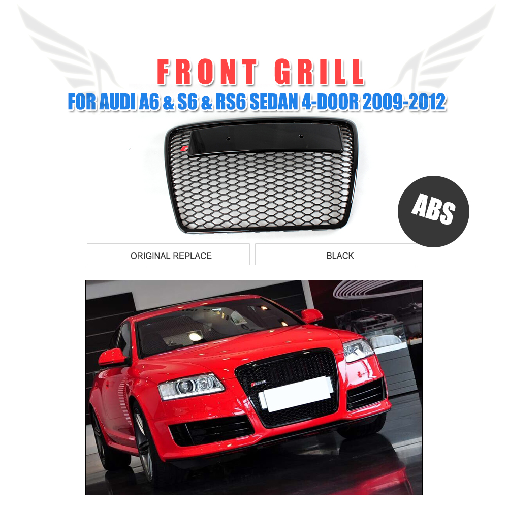 Front Bumper Grille Honeycomb Grill RS6 Style Black Frame Black Mesh Grills Fit For Audi A6 C6 Sline S6 2009-2012 pp class front car mesh grill sport style fit for benz w203 c 2000 2006