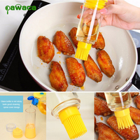 Pawaca Kitchen Honey Oil Silicone Brush with Storage Bottle for BBQ Baking Basting Cooking Accessories BBQ Tools Gardgets