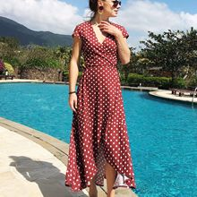 2019 Summer Europe and The United States New V-neck Wave Chiffon Womens Dress Casual Holiday Wind Simia Split Beach