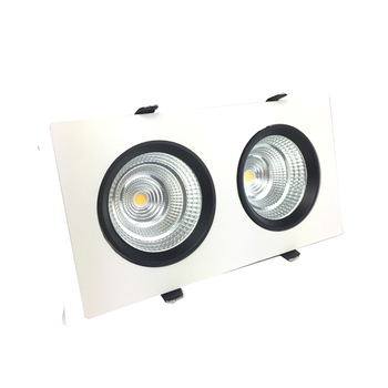 Dimmable Double Lights Recessed LED Downlight 2x9w 2x15w Rectangle Adjustable Panel