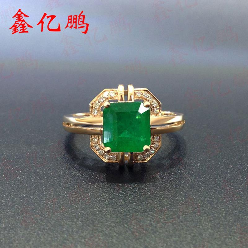 Xin yi peng 18 k rose gold inlaid 1.53 carat natural emerald ring, the woman ring, with  ...