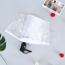 Transparent Women Automatic Manual Rain Umbrella Three Folding  Umbrellas Windproof Childrens