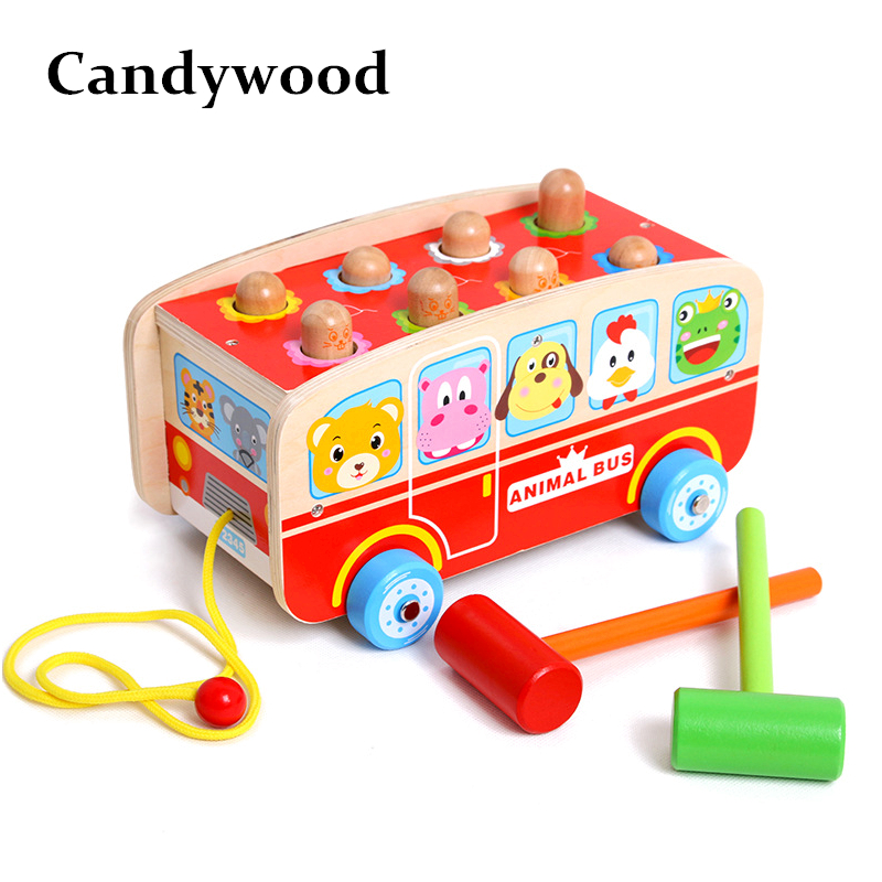 Candywood New Wooden Animal cognition hamster Bus Education Children Beat Percussion Toys Montessori toys for kid boy gift world of warcraft chronicle volume 1