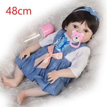 48cm Full silicone Vinyl newborn Toddler Babies Dolls modeling girl baby Birthday Gift Present Child Play House Toy bonecas