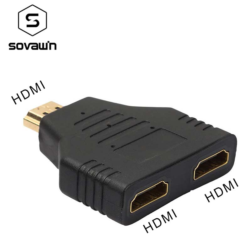 Sovawin HD 1 To 2 HDMI Splitter 1 Male To 2 Female Head Adapter HDMI Male To Female Signal To Dual Gold Plated And PVC Connector