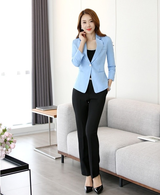 Fashion Casual Ladies Pantsuits Blue Blazer Women Business Suits ...