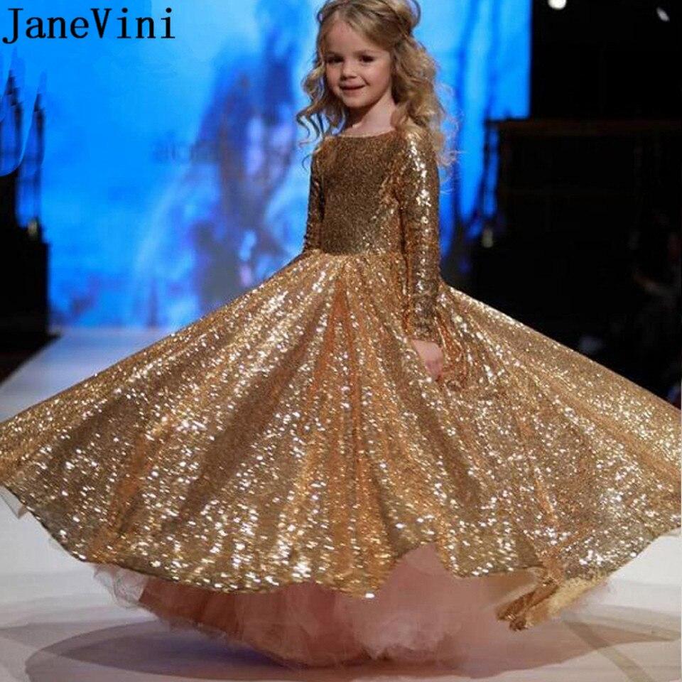 ebe69e9e59 JaneVini Sparkly Gold Sequins Flower Girl Dresses Arabic Long Sleeve ...