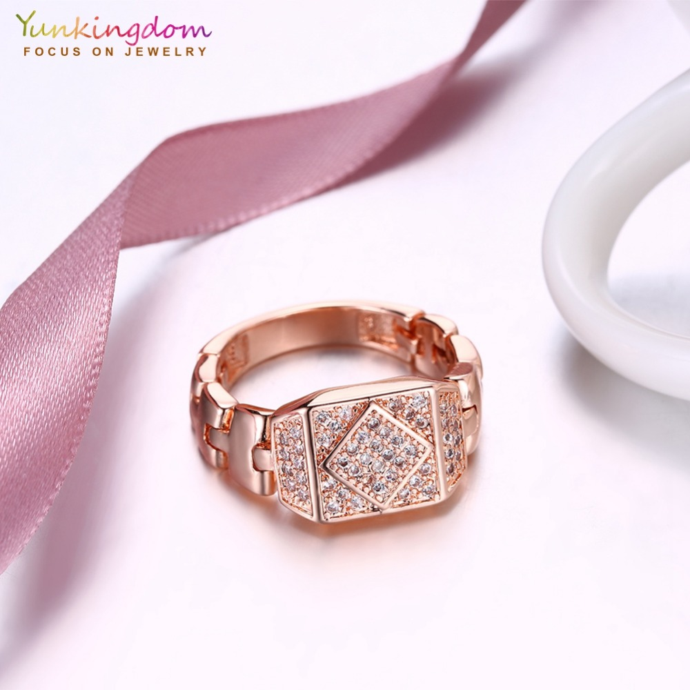 Classic Square Rose Gold Color Clear Cubic Zirconia Chain Watch ...