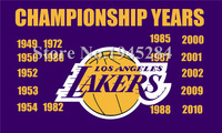 LA Lakers Championship Years Flag New 3x5ft 90x150cm Polyester Flag Banner 1025 Free Shipping