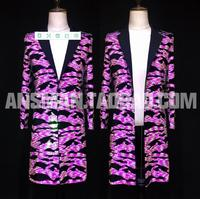 New Male Singer Long Blazer Men Fashion Fluorescent Pink Dazzle Slim Jacket Stage Costume Homme Nightclub Dj Personality Coat