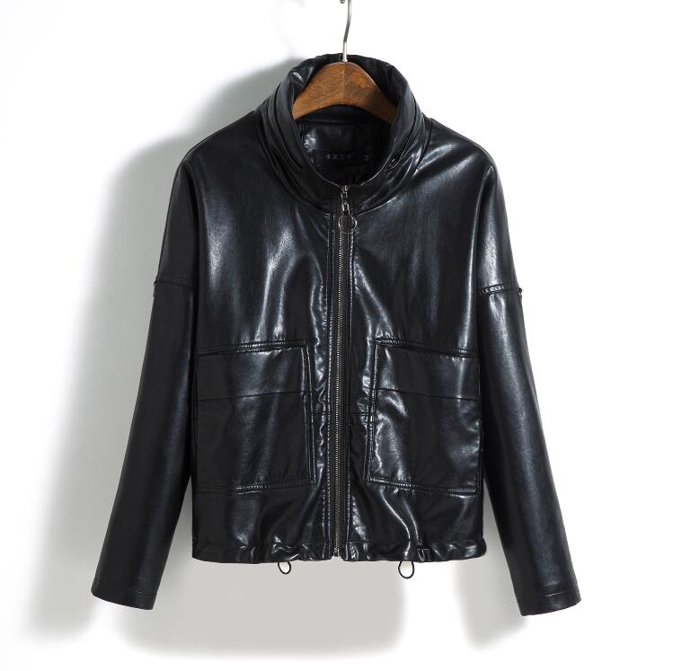 2018 Fall New Plus Size M-3XL Women   Leather   Jacket Ladies Slim Coat Female Outerwear   Leather   Coats Lady Jackets Black Army Areen