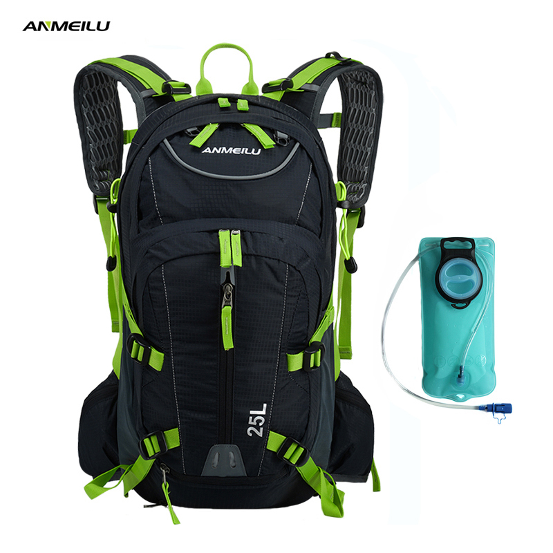 ANMEILU 25L Climbing Bag Sports Rucksack Waterproof Cycling Camping Backpack Rain Cover Sport Travel Bags 2L Water Bag Camelback anmeilu bike backpack with reflective safety color 25l waterproof cycling bag outdoor bike travel bag rucksack