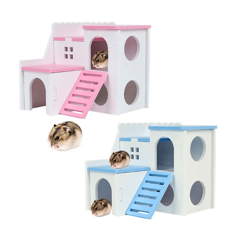 Wooden Hamster House Hideout Exercise Play Toys Mouse Rat Small Animals Chew