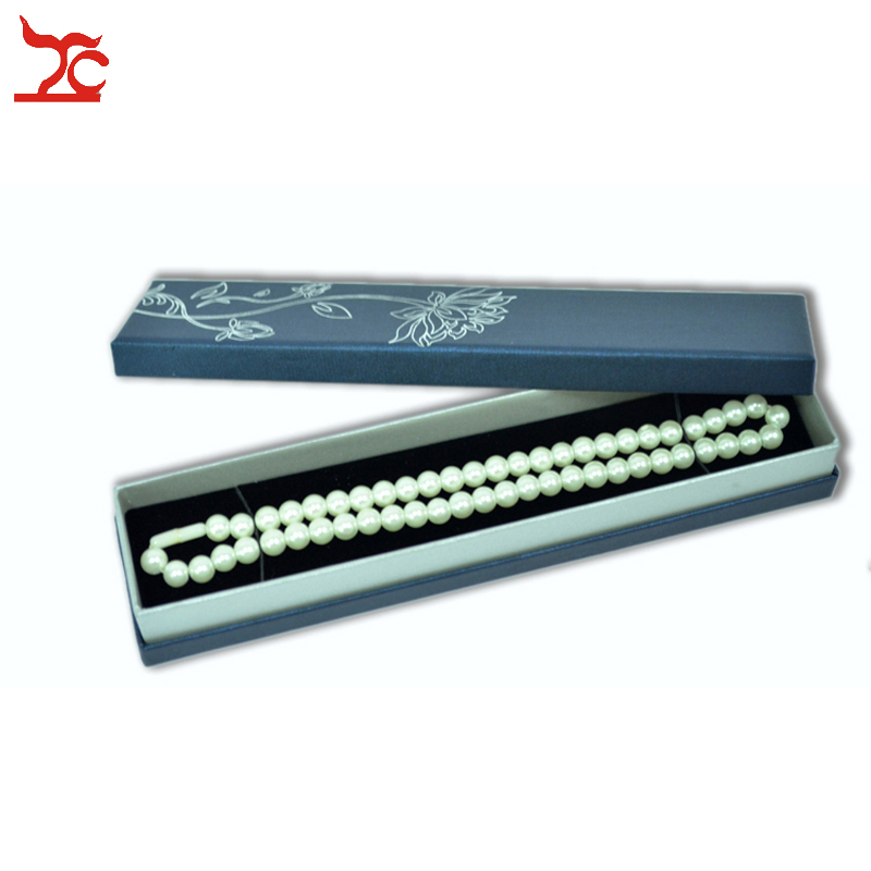 Wholesale Blue Paper Boxes For Jewelry Packaging 5*22.5*3.5cm 12pcs /lot Flower Necklace Gift Boxes Black Velvet Inside Boxes