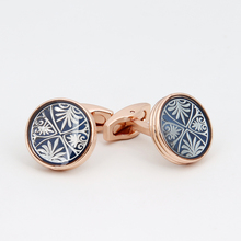 TOMYE gold blue round leaves copper cufflinks men for shirt jewelry XK19S069