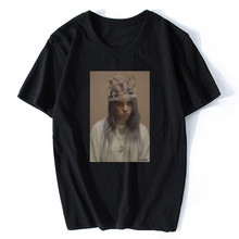 Billie Eilish Ocean Eyes T Shirt Singer Portrait White Cotton Black T-Shirt O-Neck Fashion Casual High Quality Print Top Tee