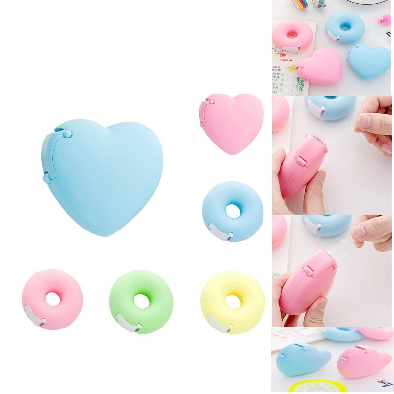Hot Sale Portable Lovely Doughnut/Heart Shape Tape Dispensers Cartoon Colorful Roll Tape Organizer