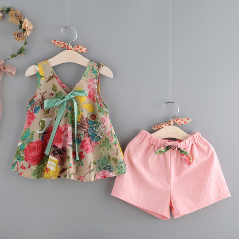 2PCS Kids Sets Summer Baby Girls Clothes Sleeveless Floral Printed Tank Tops + Pink Shorts Baby Summer Beach Suits Outfits D30