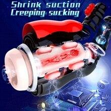 LUOGE Airbag Pressure Moan Oral Masturbator 12 Vibrating Deep Throat Suction Sex Machine Induced Vibrator Adult Toys For Men