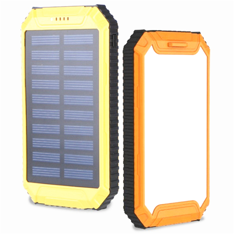 Solar Charger 2 USB Ports battery 20000mAh power bank External Charger Powerbank for phone Digital products with LED Light