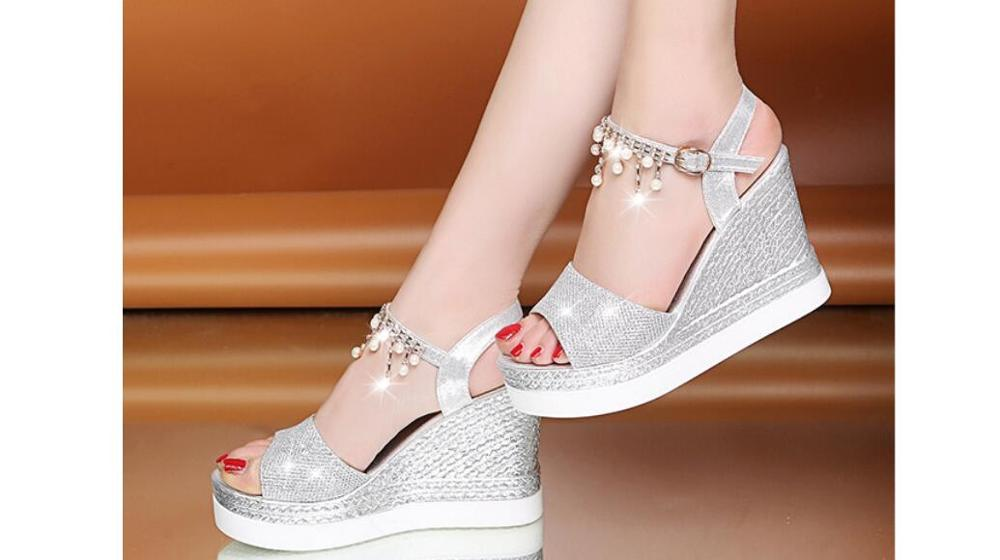 Platform Sandals Bead-String Women Shoes Thick-Bottom Femme Casual Wedges