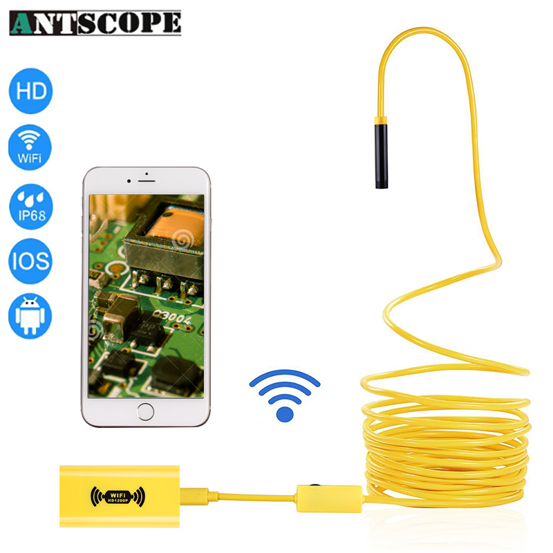 Antscope 8mm 1200P Wifi Endoscopic Camera HD Yellow Harid wire Android IOS Endoscope Camera Waterproof Semi-rigid Endoscope 2m hd 1200p wireless wifi endoscope mini waterproof semi rigid inspection camera 8mm lens 8led borescope for ios and android pc