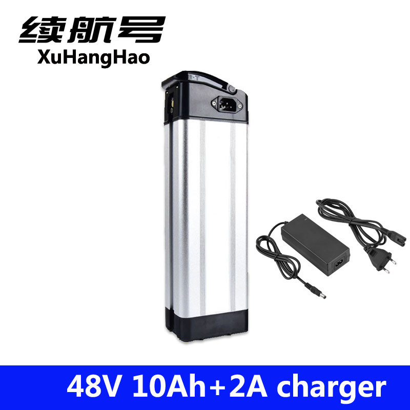 XuHangHao 48 v au lithium ion batterie argent poissons case vélo électrique batterie 48 v 10ah ebike li-ion batterie avec 2a chargeur