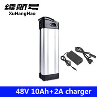 XuHangHao 48v lithium ion battery silver fish case electric bike battery 48v 10ah ebike li ion battery with 2a charger