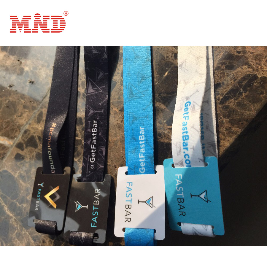 Barcode Nylon Smart RFID Chips Music Festival Woven Fabric Wristbands / Woven Bracelet With Personalized