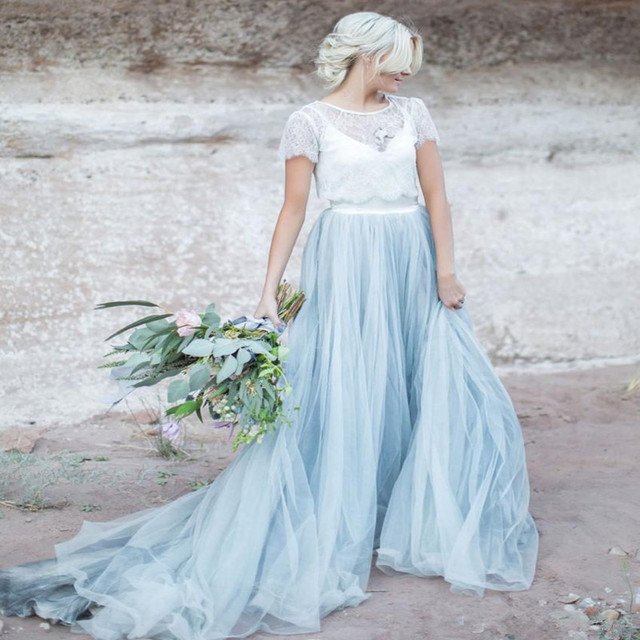 Light Blue Wedding Dress White Lace Sheer Detachable Jacket Crop Top ...