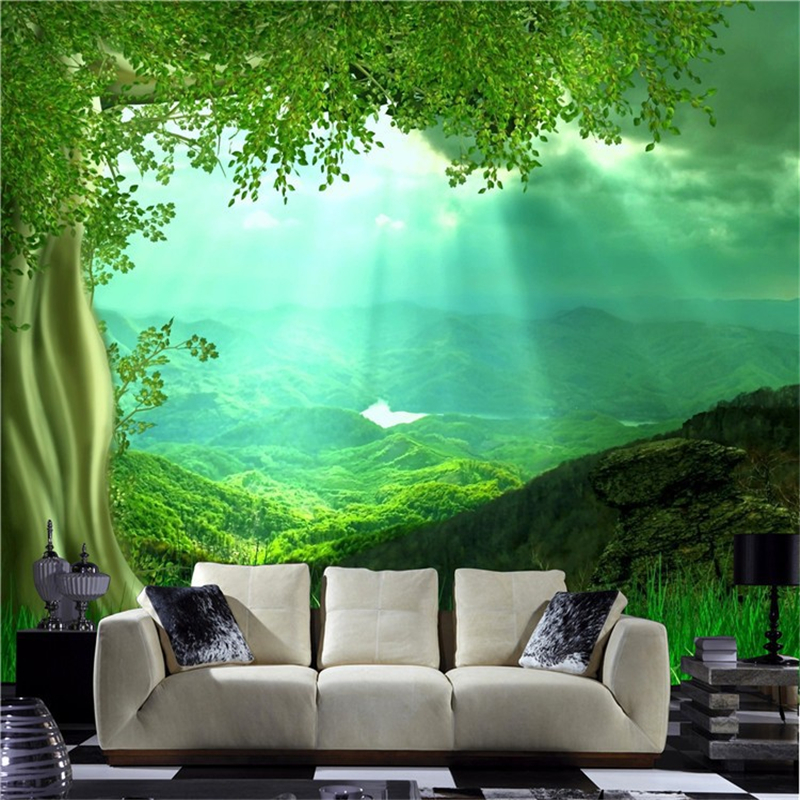 3d nature wall art setting for living room wallpaper non