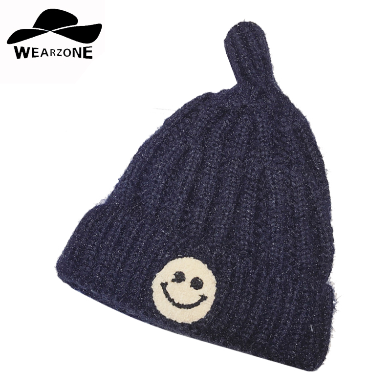 new Winter autumn woman's Skullies Smile pattern Plus velvet hat Beanies knitting Skullies  warm knitted Beanies solid color cap skullies hot sale candy sets color pointed hat knitting hat sets hat cap 1866951