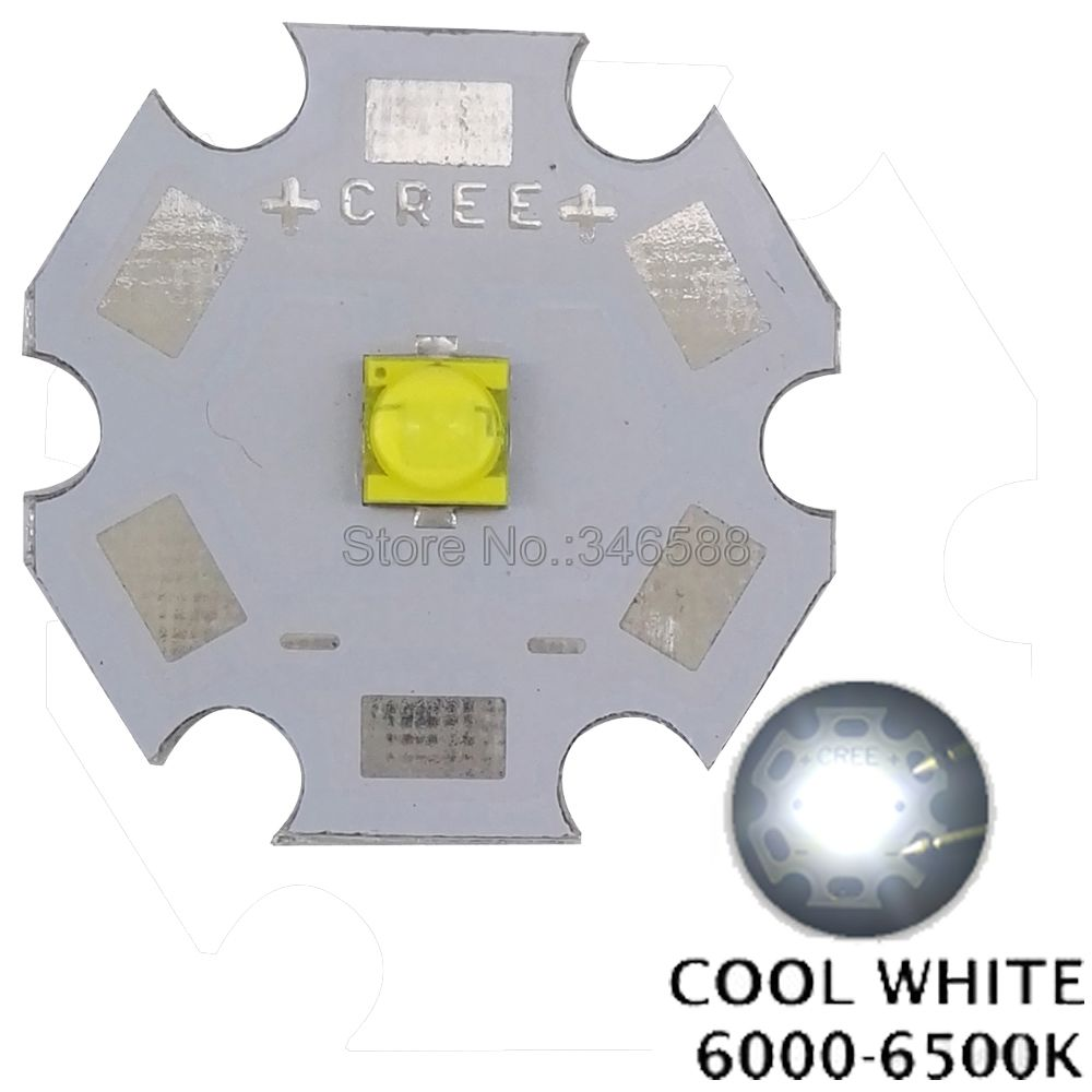 Special offer! 10pcs/lot! <font><b>Cree</b></font> XLamp XT-E XTE White W <font><b>5W</b></font> High Power <font><b>LED</b></font> Emitter Chip on 8mm / 12mm / 14mm / 16mm / 20mm PCB image