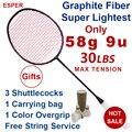 Esper 58 Gram 9U Carbon Fiber Badminton Racket Professionele Super Lichtste Graphite Racket Met String 30LBS Voor Volwassen