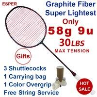 Esper 58 Gram 9U Raquete de Badminton Profissional Super Leve De Fibra De Carbono Grafite Raquete Com Corda 30LBS Para Adulto