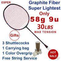 Esper 58Gram 9U Carbon Fiber Badminton Racket Professional Super Lightest Graphite Racquet With String 30LBS For Adult